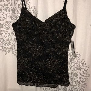 black and gold shimmer tank top
